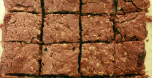 Peanut butter brownies on a tray